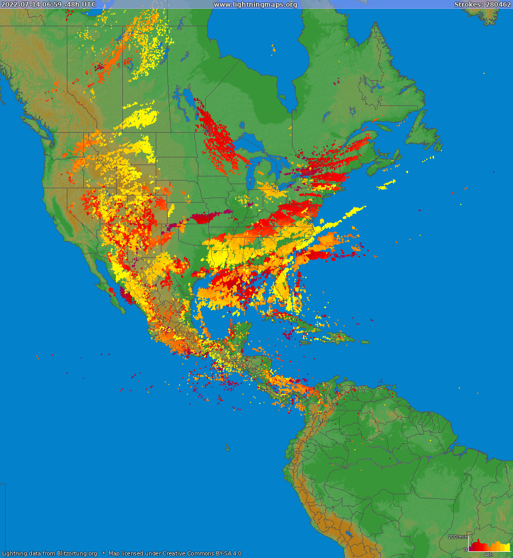 Lightning map North America 2018-09-19 13:39:24 UTC