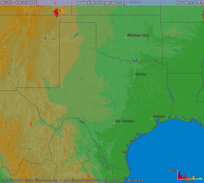Texas Lightning Map