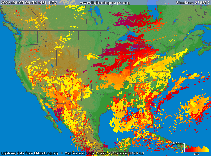 Lightning map USA 2021-05-07 19:56:11 UTC