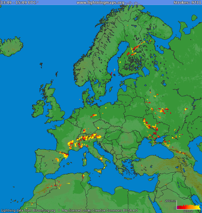 Lightning map Europe 2018-03-24 11:33:00 UTC