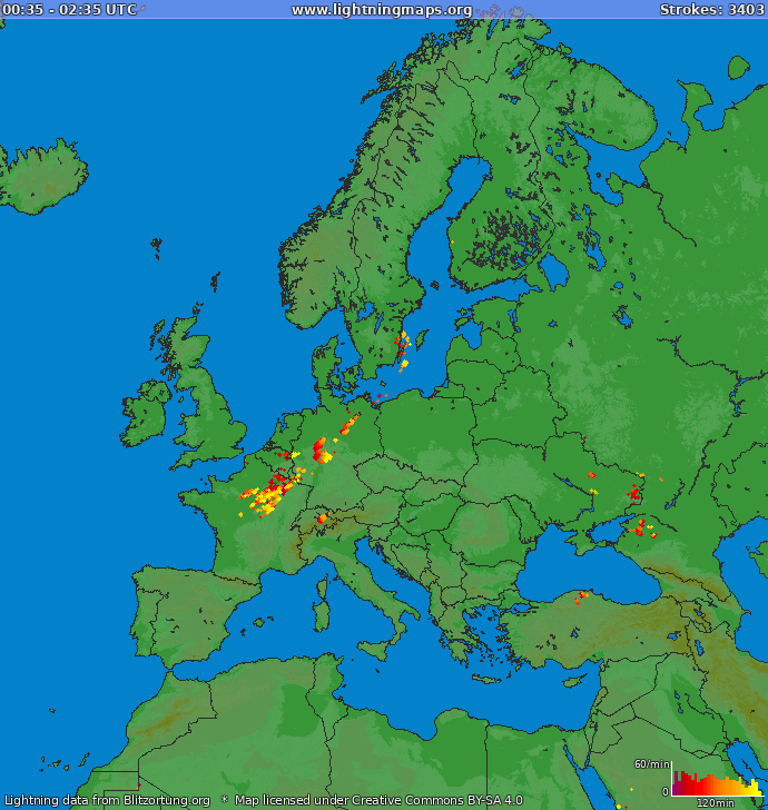 Lightning map Europe 2020.08.08 02:44:17 UTC