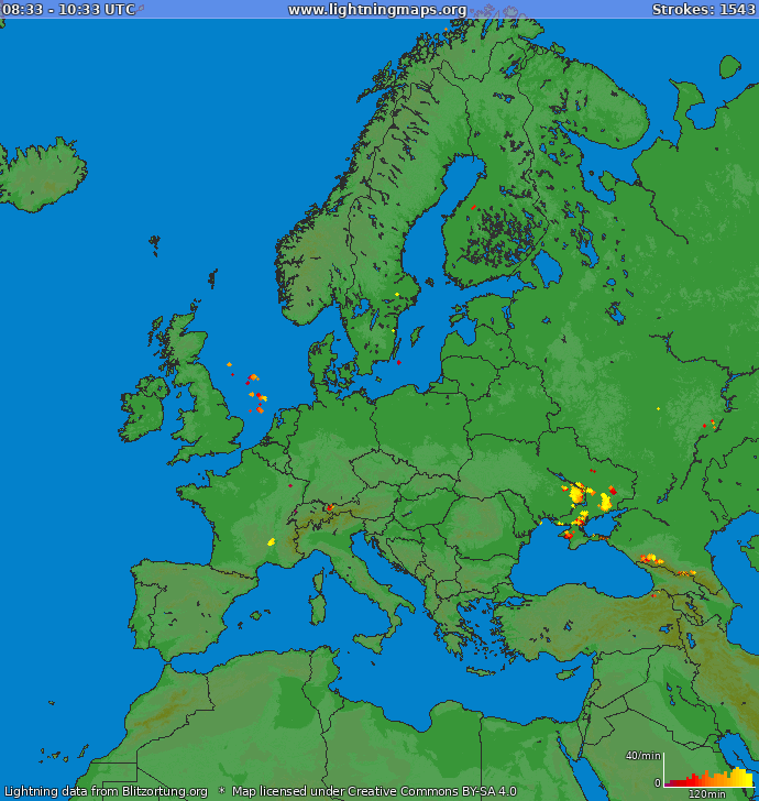 Lightning map Europe 2020.06.07 09:26:17 UTC