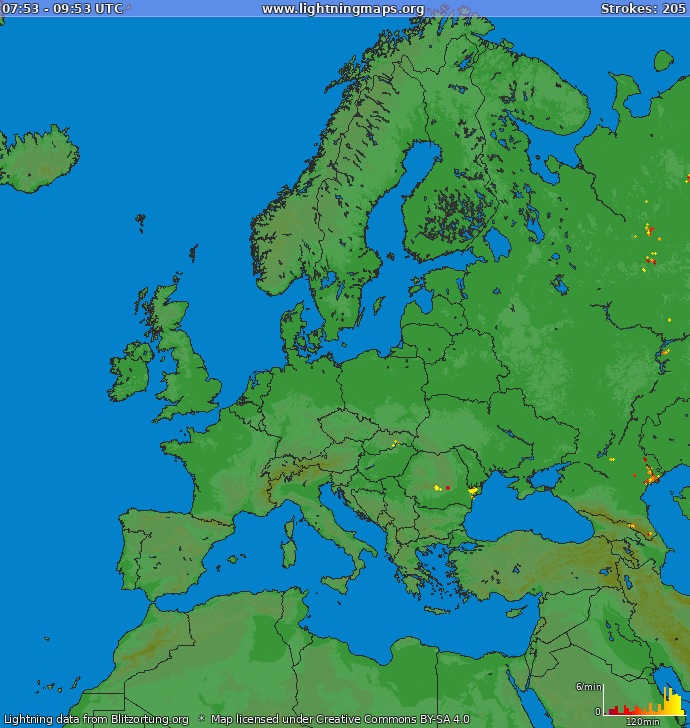 Lightning map Europe 2021.05.14 11:34:10 UTC
