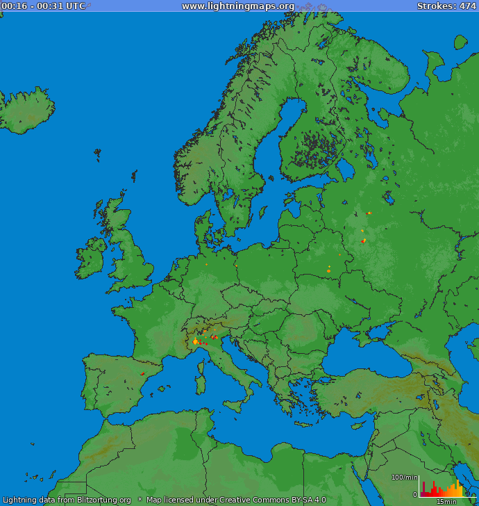 Lightning map Europe 2021-05-15 12:36:08 UTC