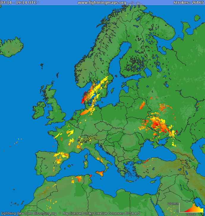 Lightning map Europe 2020-02-21 13:01:22 UTC
