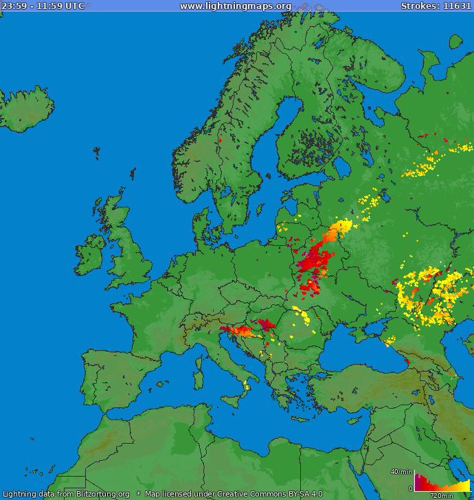 Lightning map Europe 2018-12-13 14:28:03 UTC