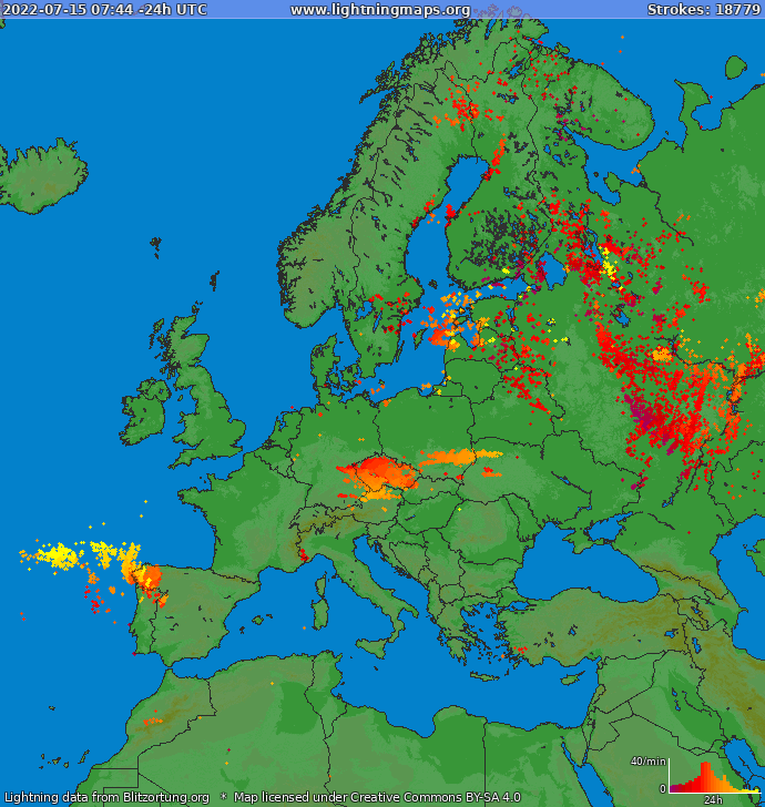 Lightning map Europe 2021.05.17 14:05:12 UTC