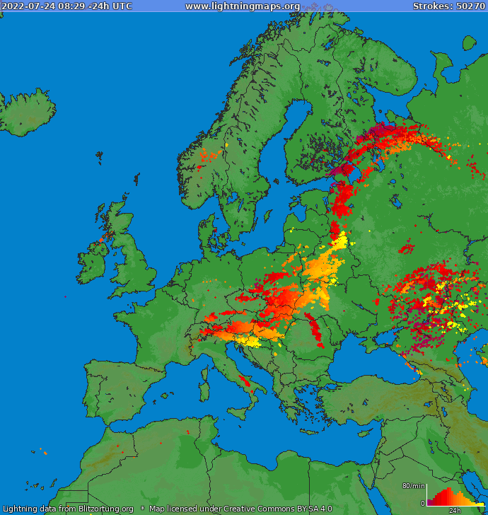 Lightning map Europe 2019-12-11 02:21:27 UTC