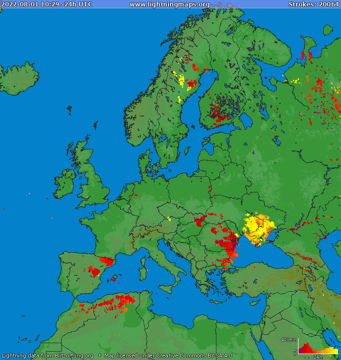 Lightning map Europe 2021-05-14 19:56:55 UTC