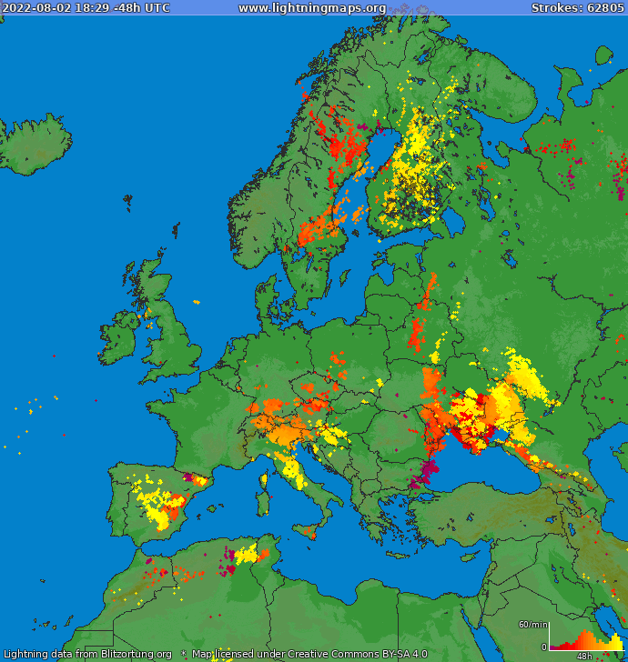 Lightning map Europe 2020-08-08 17:53:15 UTC