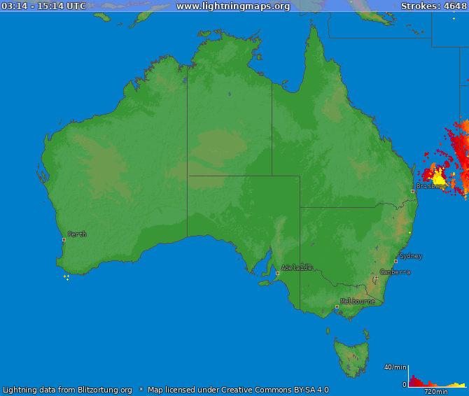 Lightning map Australia 2019-04-19 11:31:42 UTC