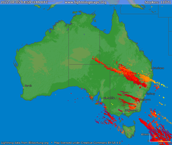Lightning map Australia 2021-05-12 08:55:49 UTC
