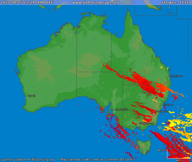 Lightning map Australia 2021-05-10 07:23:03 UTC