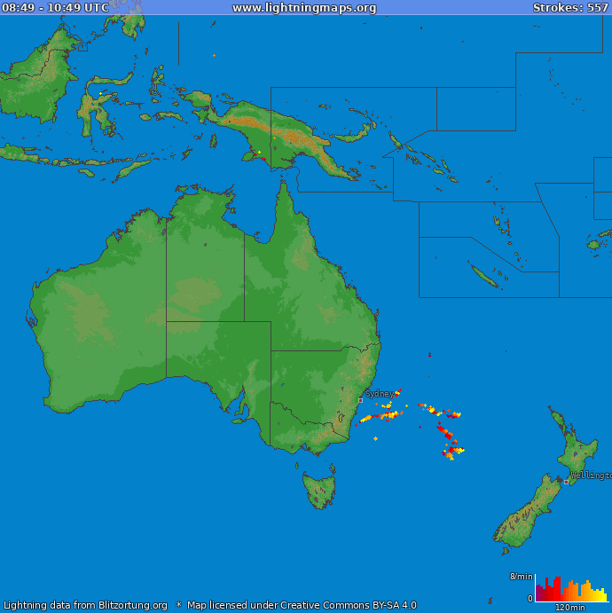 Lightning map Oceania 2019-04-22 13:00:04 UTC