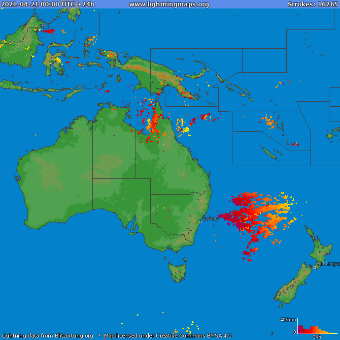 Lightning map Oceania 2021-04-21