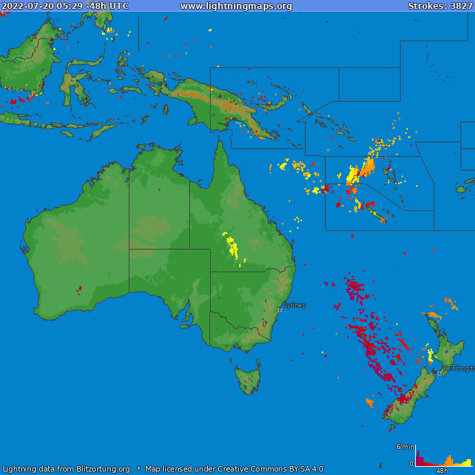 Lightning map Oceania 2020-02-20 08:55:29 UTC